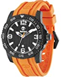 Timberland Men's Quartz Watch with Black Dial Analogue Display and Orange Rubber Strap TBL.13613JSB/02