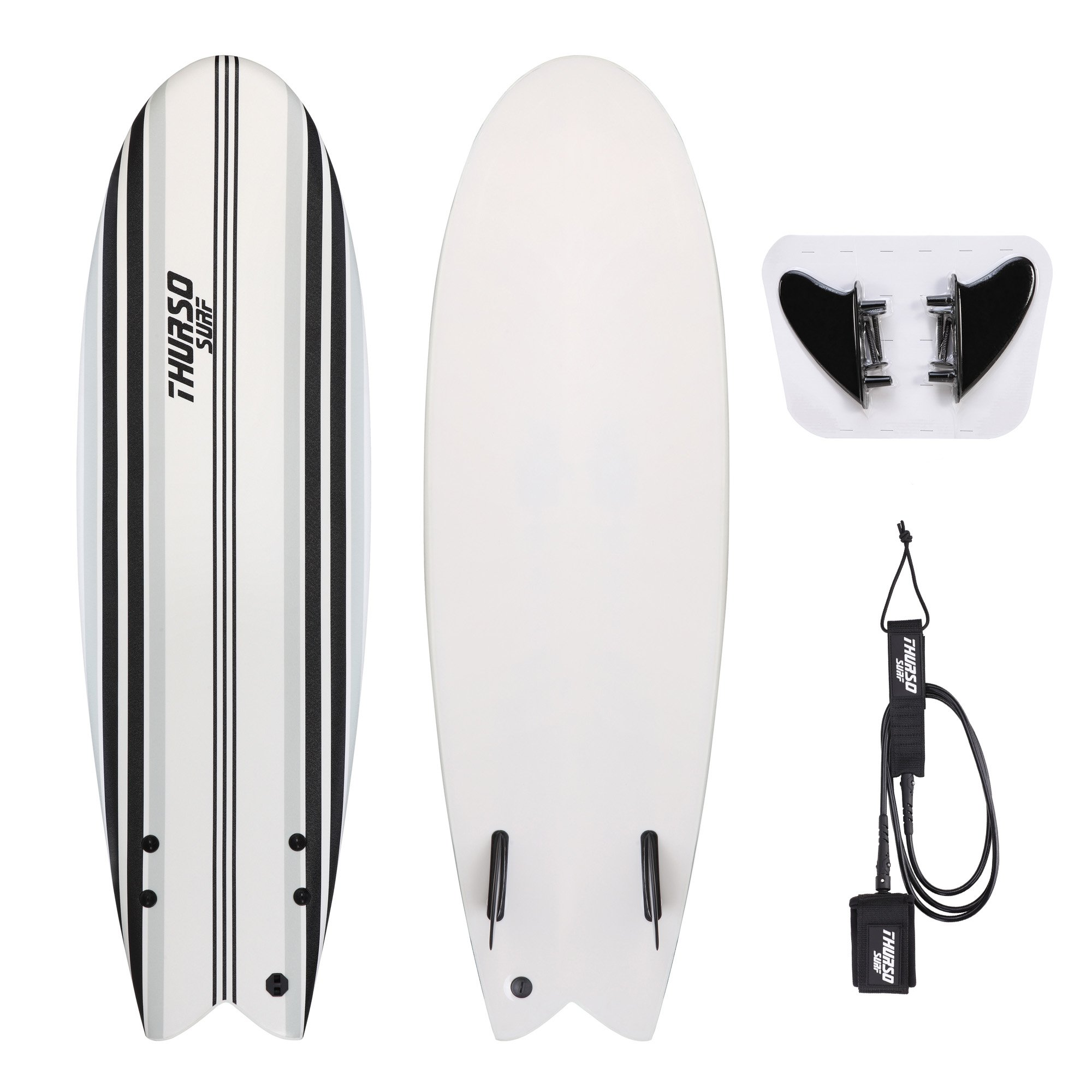 THURSO SURF Lancer 5'10'' Fish Soft Top Surfboard Package Includes Twin Fins Double Stainless Steel Swivel Leash EPS Core IXPE Deck HDPE Slick Bottom Built in Non Slip Deck Grip (Gray) by THURSO SURF