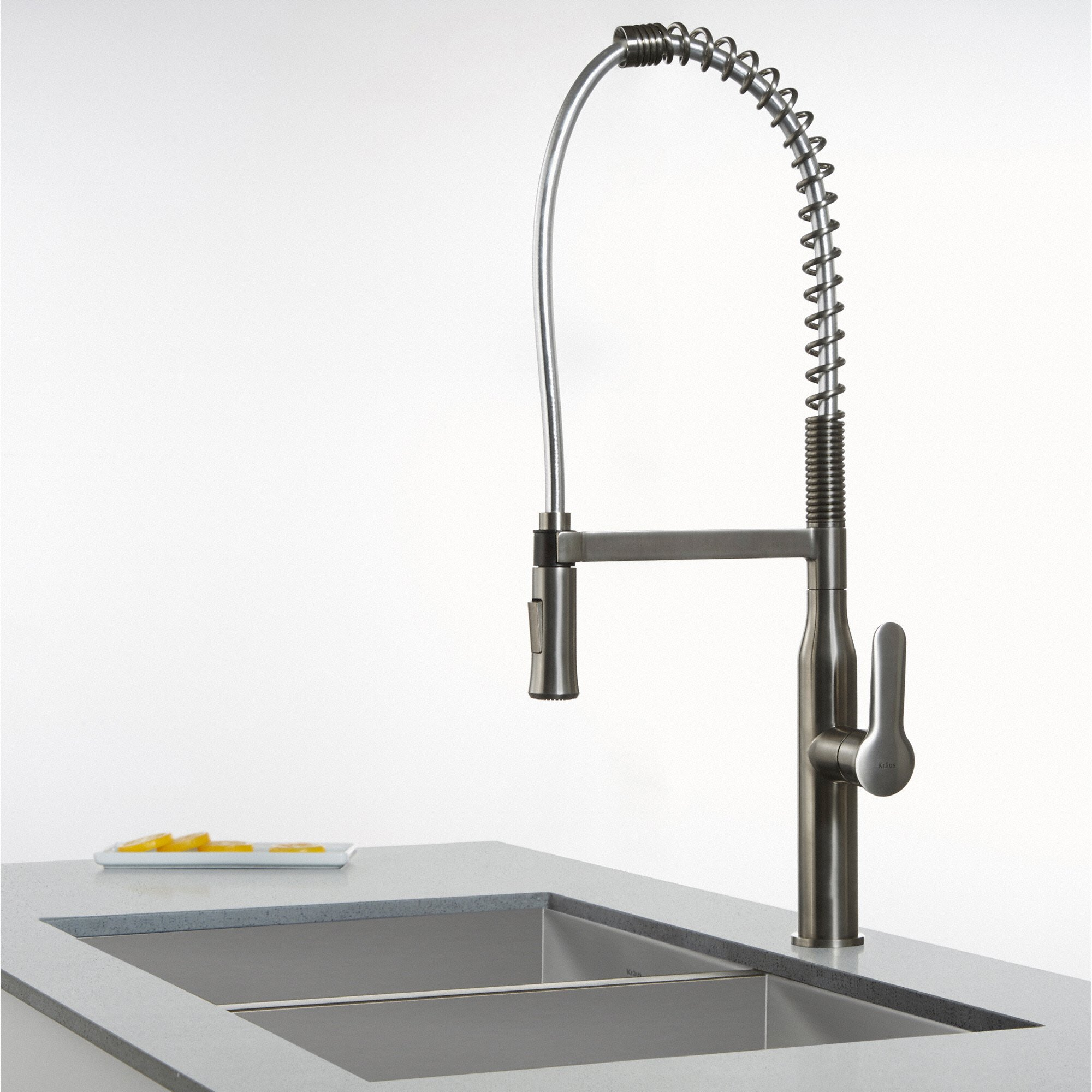 Kraus KPF 1650SS Modern Nola Single Lever Commercial Style Kitchen Faucet,  Stainless Steel   KPF 1650SS U003c Touch On Kitchen Sink Faucets U003c Tools U0026 Home  ...