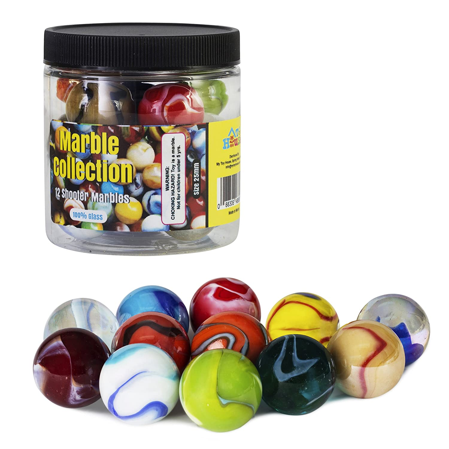 My Toy House Shooter Glass Marbles with Marble Jar For Storage Set of 12 1 inch Assorted Colors