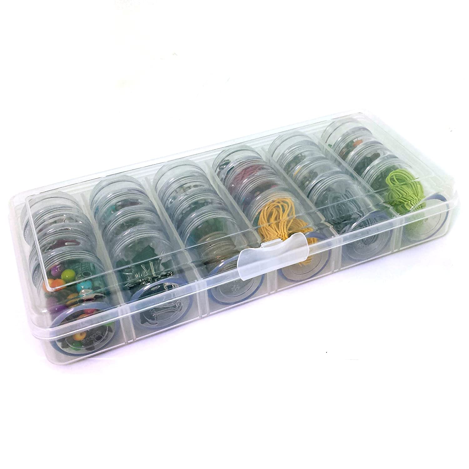 Storage Box 24 Round Individual Screw Top Containers Multi-functional Organizer For Crafting Sewing Beads Jewelry Buttons Paylak CNTB032