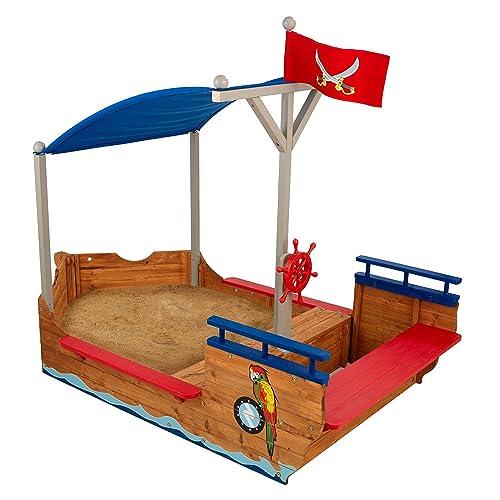 KidKraft 128 Bac à sable Bateu de Pirate, structure extérieur pour enfant, aire de jeux