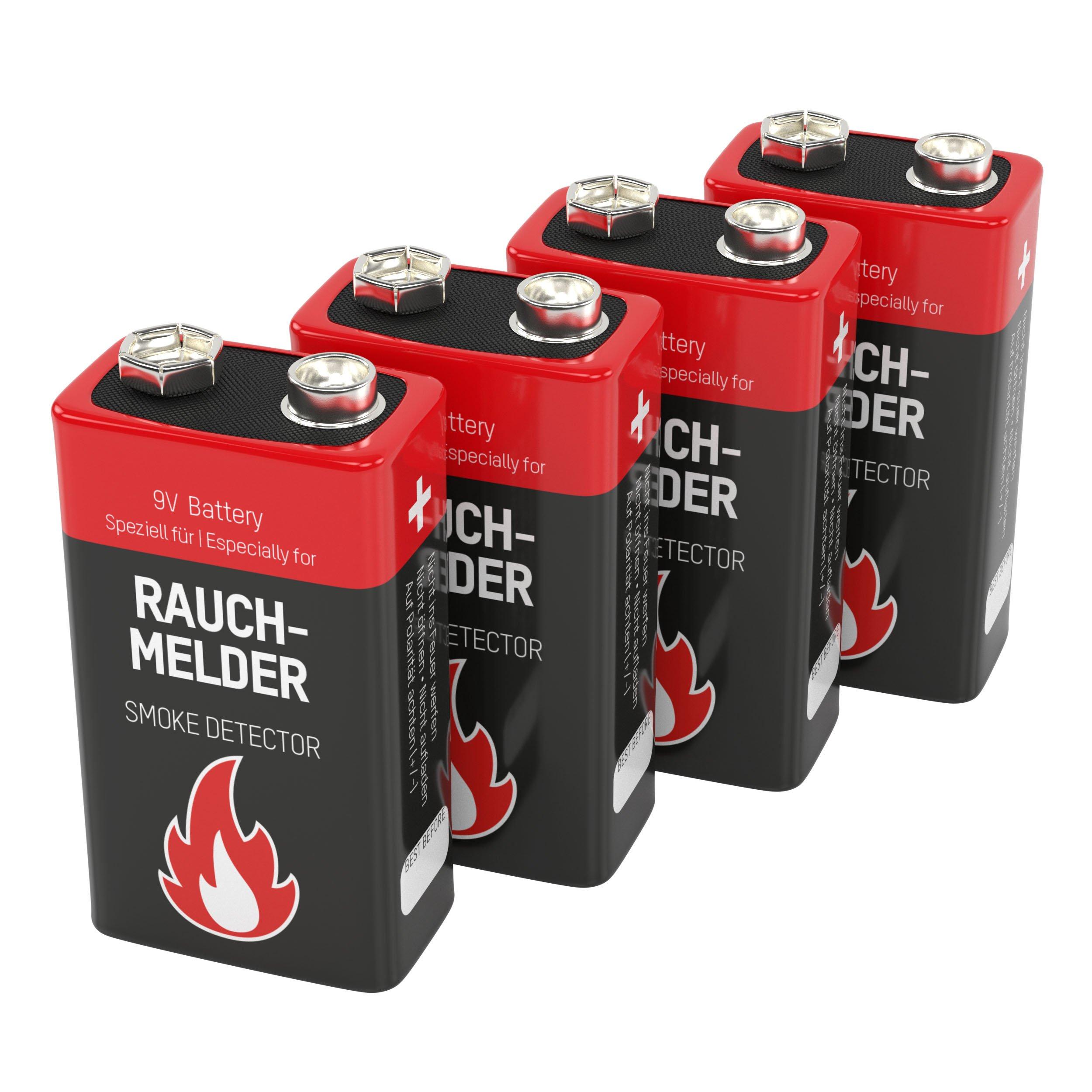 Ansmann 9V Alkaline Battery for Smoke Detectors Battery, Red, 4-Pack (1515-0006-590)