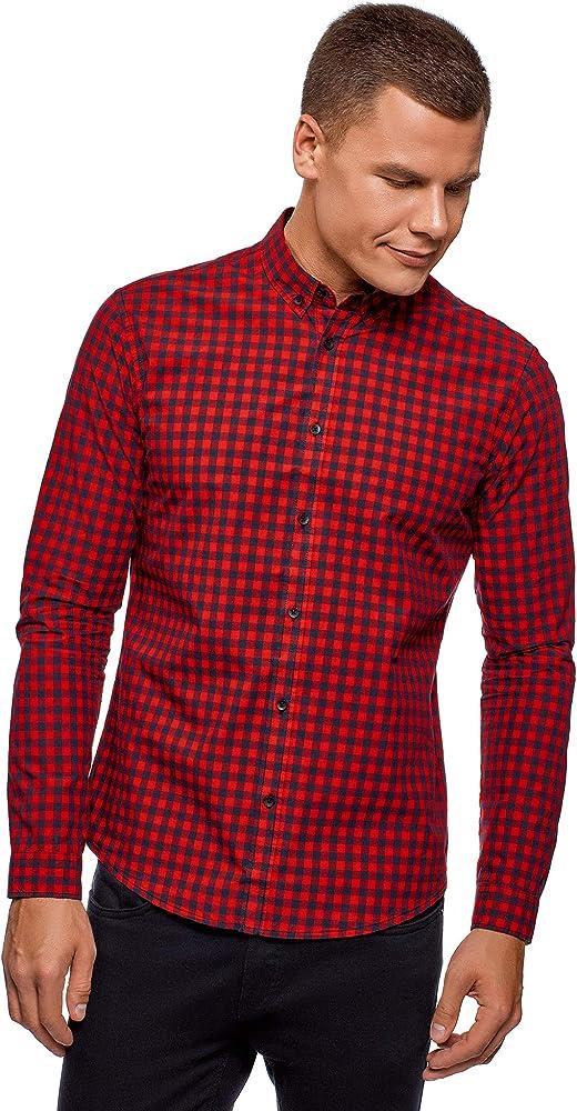 oodji Ultra Hombre Camisa de Algodón a Cuadros, Rojo, 46-48: Amazon.es: Ropa y accesorios