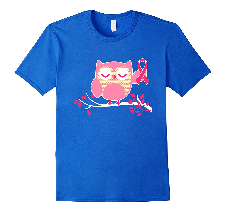 Owl Pink Ribbon Cancer T Shirt - Breast Cancer Awareness-AZP