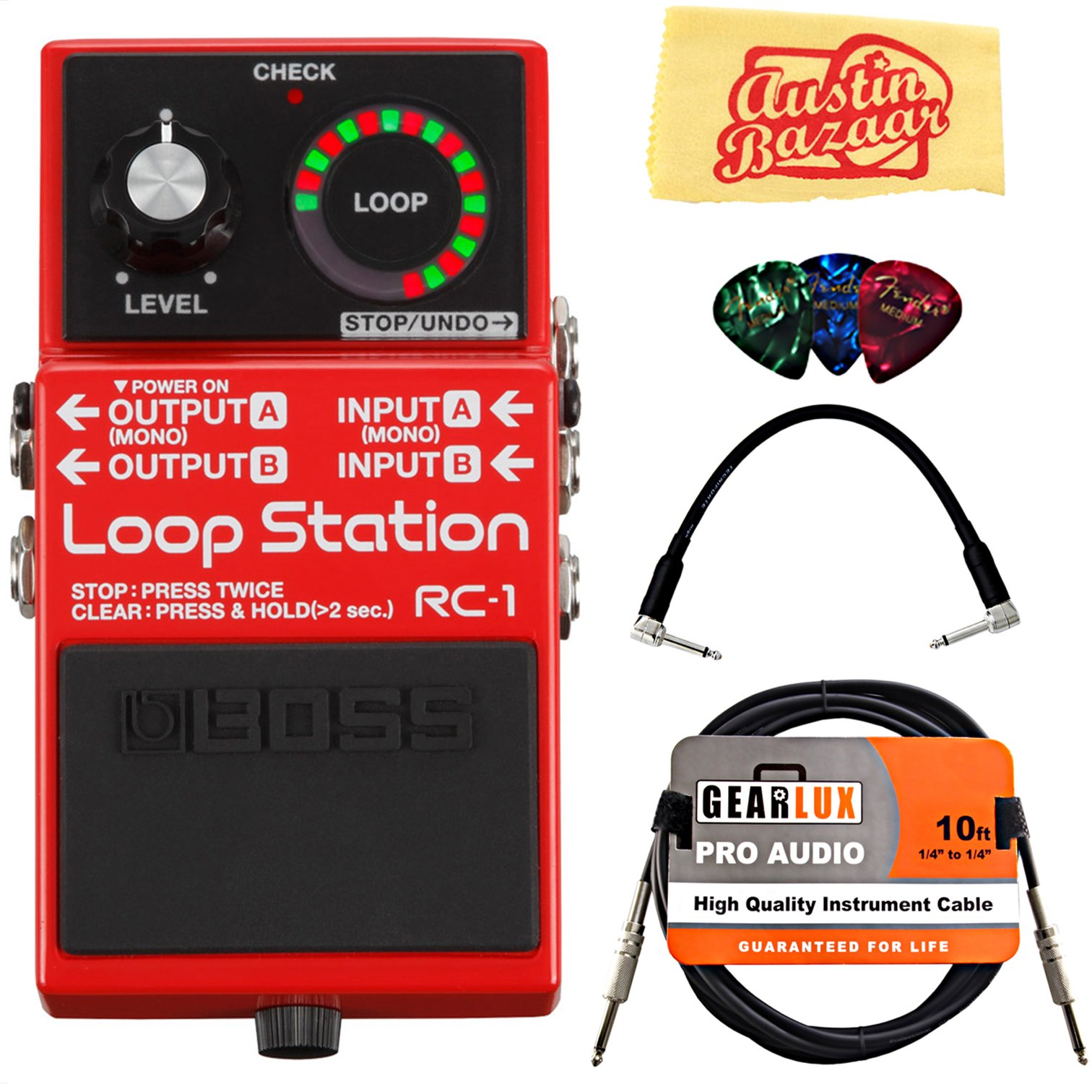 Boss RC-1 Loop Station Bundle with Instrument Cable, Patch Cable, Picks, and Austin Bazaar Polishing Cloth by BOSS