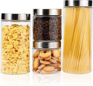 Focus Line Glass Canister Sets of 4, Glass Kitchen Canisters with Airtight Lid, Food Storage Jars for Kitchen Pantry Organization Ideal for Flour, Spaghetti, Sugar, Coffee, Cookie, Candy, Snack