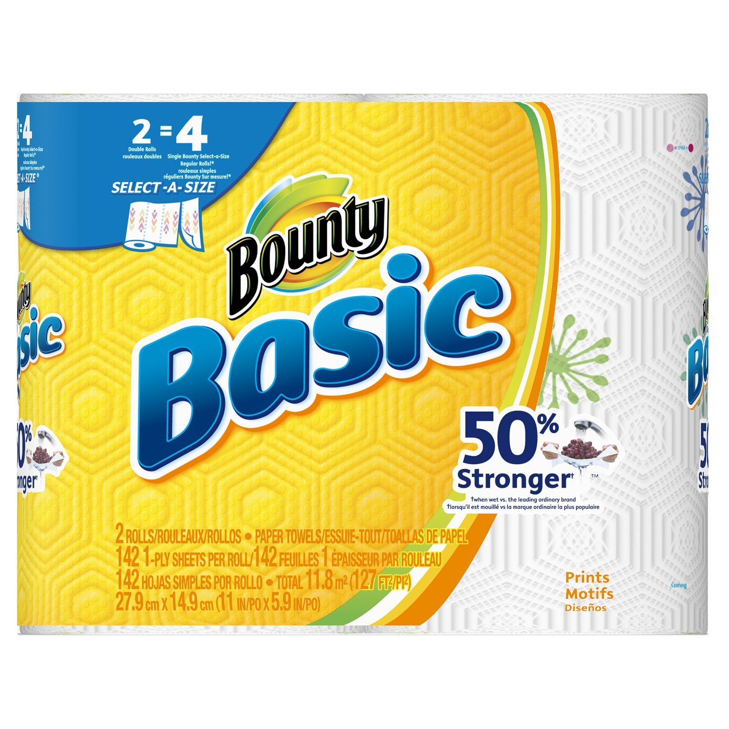 Amazon.com : Bounty Basic Double Roll Select-a-Size Paper Towels, Prints, 2 Count (Pack of 12) : Beauty