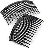 Ladies 2pk Shiny Black Hair Tooth Side Comb Set 8cm Wide