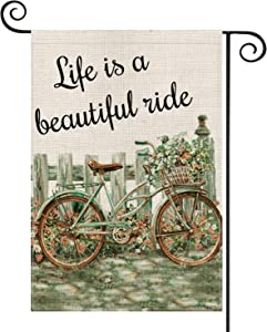 AVOIN Life is a Beautiful Ride Bicycle Garden Flag Vertical Double Sized, Seasonal Spring Flowers Bike Yard Outdoor Decoration 12.5 x 18 Inch