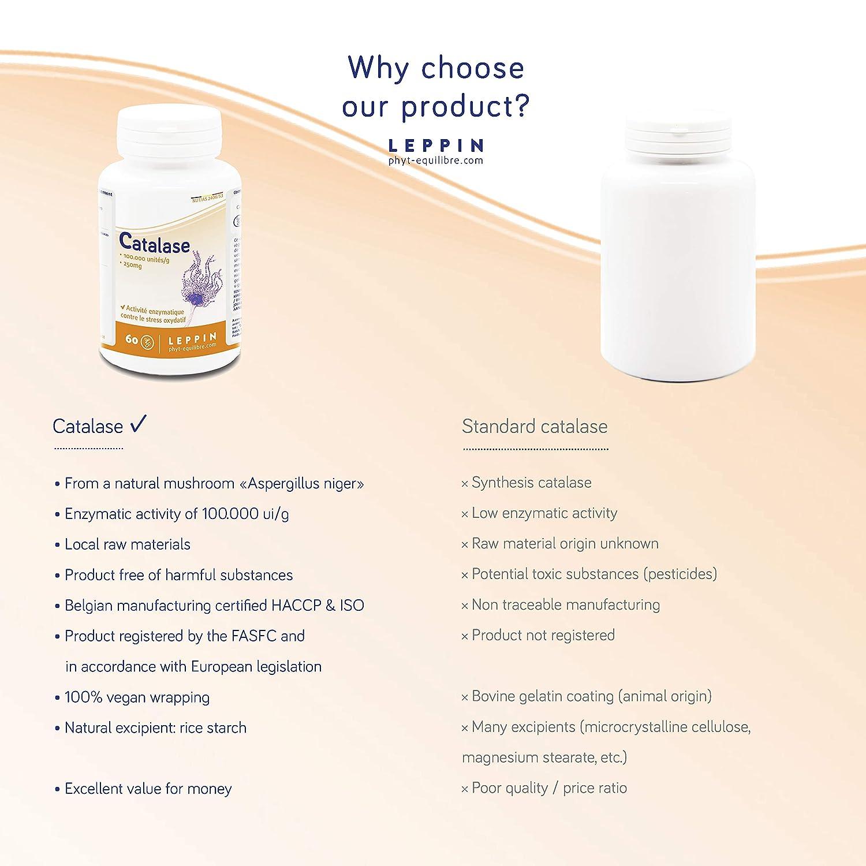 LEPPIN ☘️ Catalasa 60 Cápsulas VEGAN | Enzymes contra el stress oxydant | Suplemento naturales