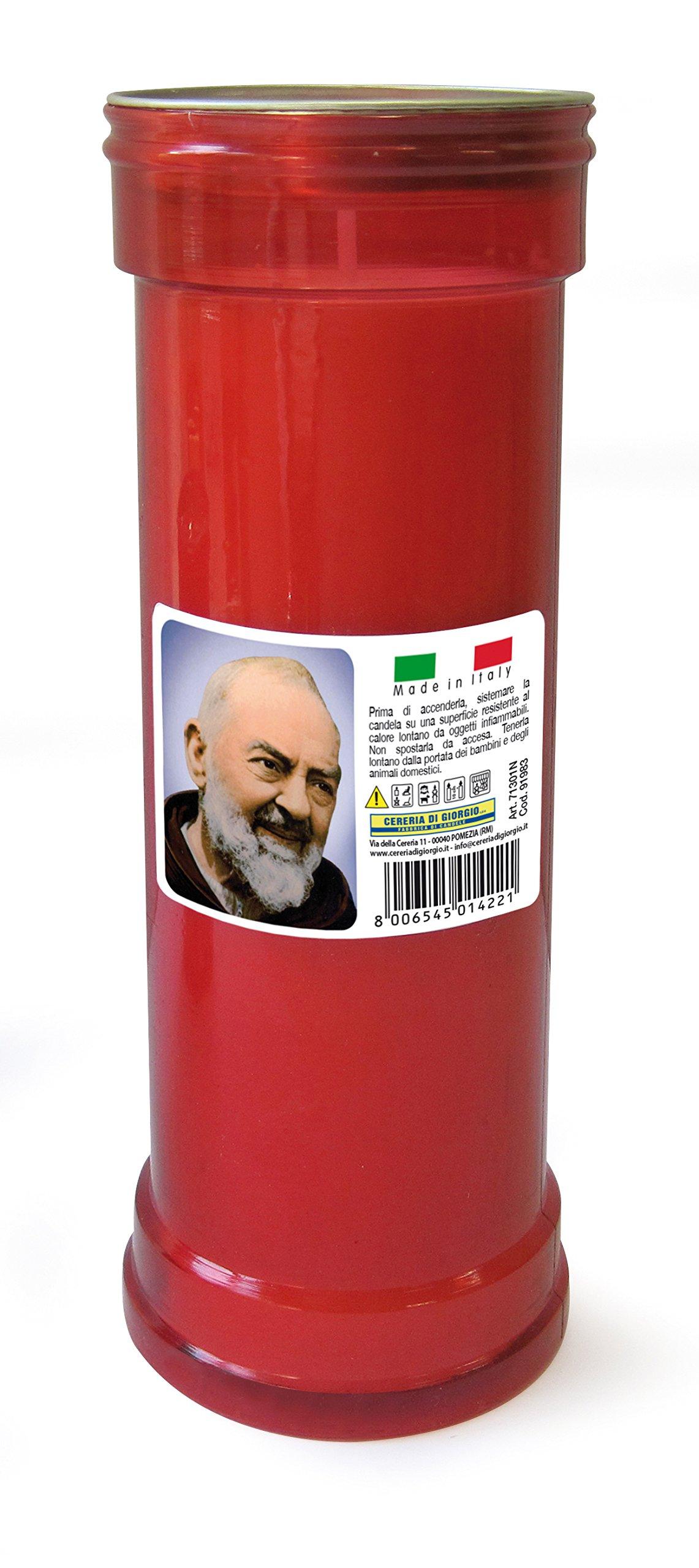 CERERIA di Giorgio 715AZ Ceri votivi Padre Pio, Wax, Red, 6.5x 6.5x 19.5cm, 10Units