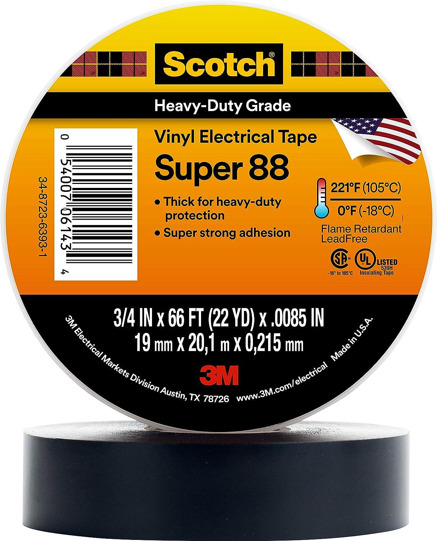 3M SUPER88-38X33 Cinta Aislante Scotch® Negro (L x B) 33m x 38mm 1 ...