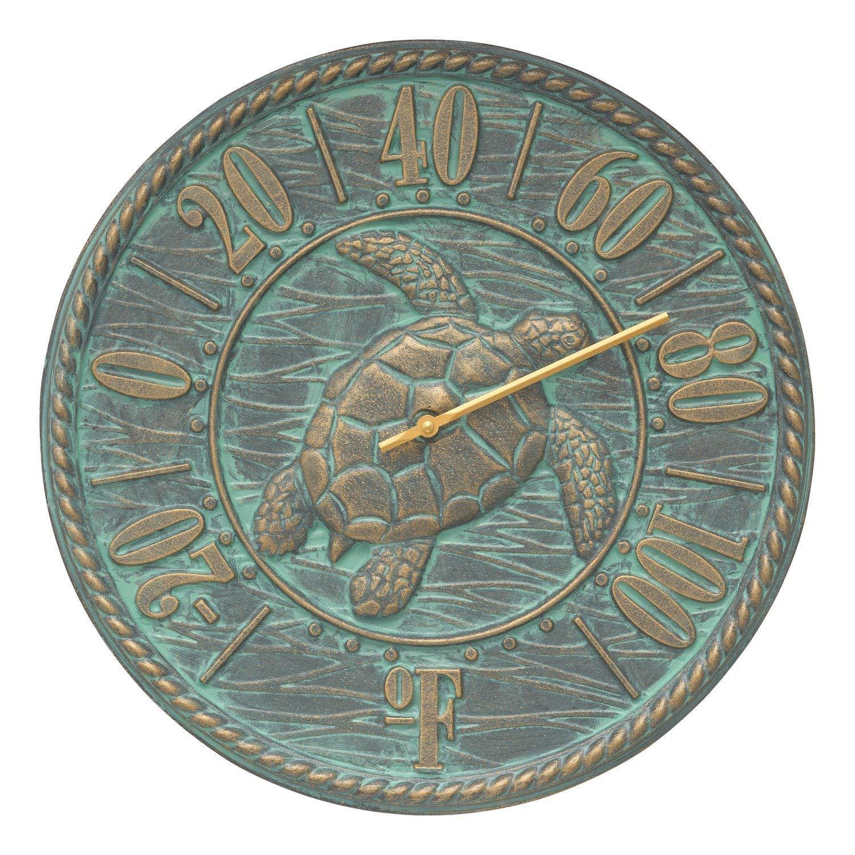 Whitehall Sea Turtle 16'' Thermometer Bronze Verdigris