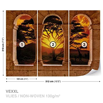 FORWALL Vlies Fototapete Tapete Vliestapete Dekoshop Sonnenuntergang Afrika  AD770VEXXL (312cm x 219cm) Photo Wallpaper Mural