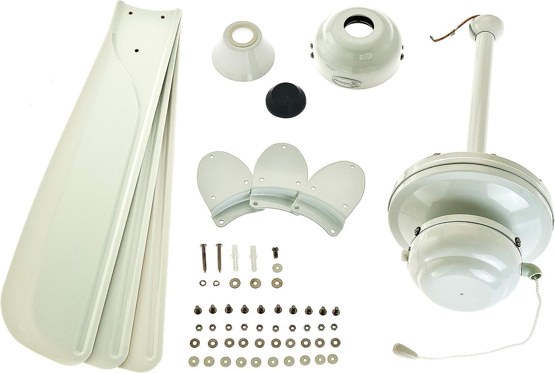 72423 Weißer Deckenventilator Mountain Gale, 132 cm, für den Innen-/Außenbereich Ausführung in Weiß mit Flügeln in Weiß