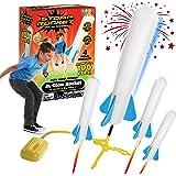 Stomp Rocket The Original Jr. Glow Rocket Launcher, 4 Foam Rockets and Toy Air Rocket Launcher - Glows in The Dark, STEM Gift