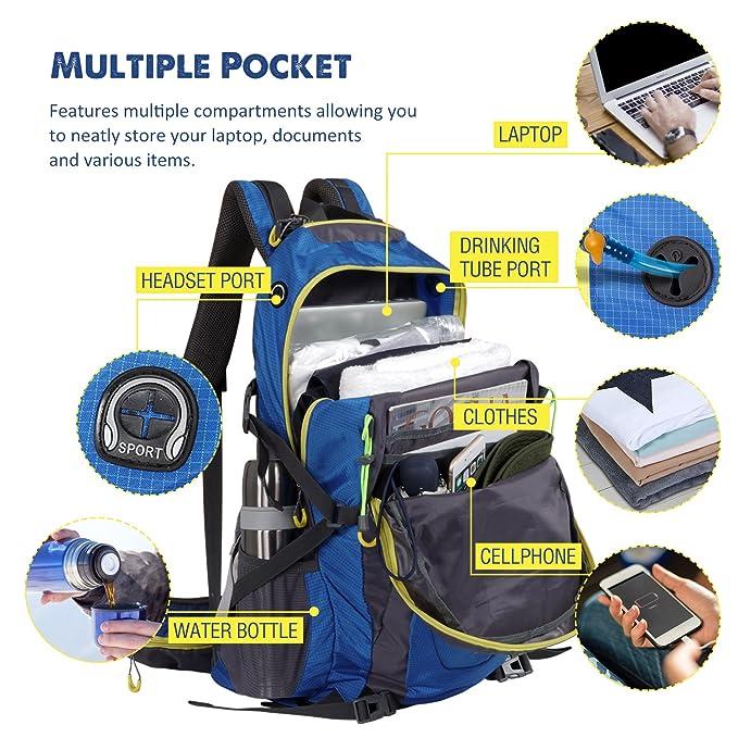 WolfWise 50L Mochila de senderismo, mochila de viaje mochila de viaje, mochila impermeable con funda de lluvia, para acampar/ senderismo/ montañismo/ viajar ...