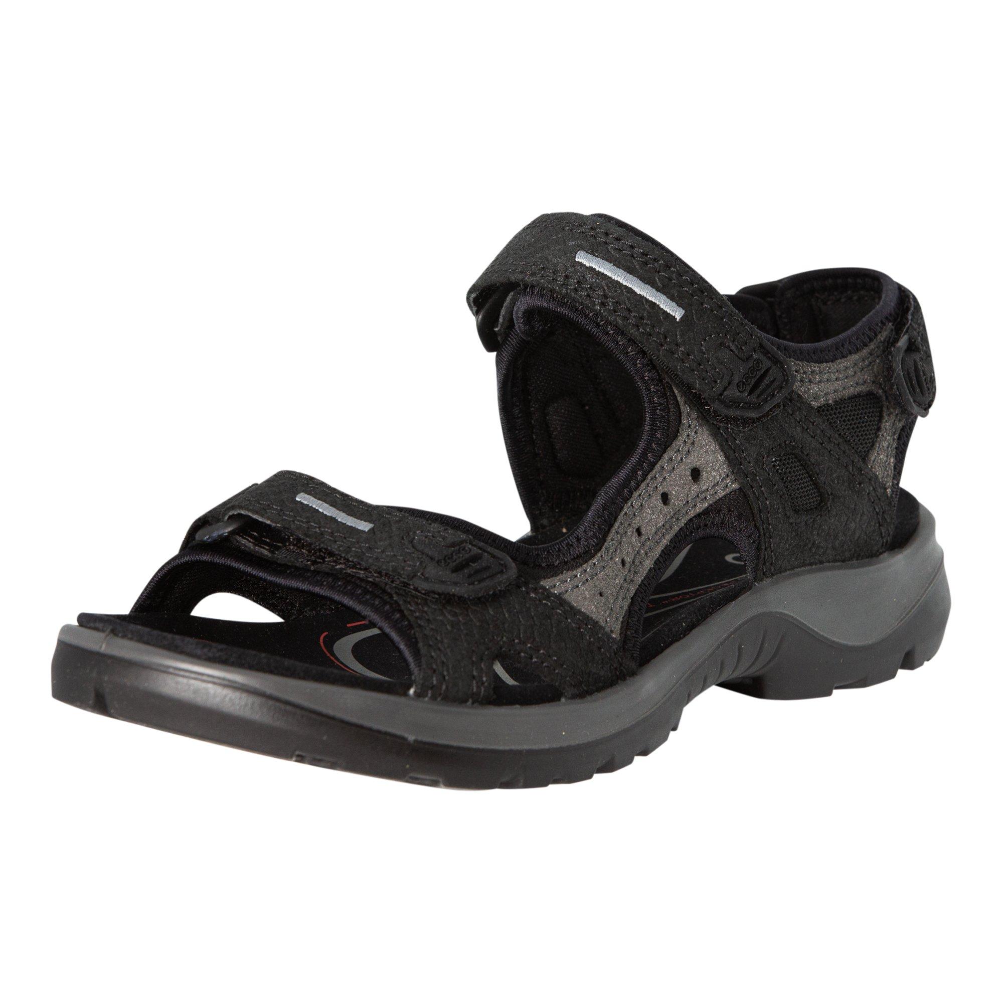 ECCO Women's Yucatan Sandals, Black/Dark Shadow, 37 EU/6-6.5 M US