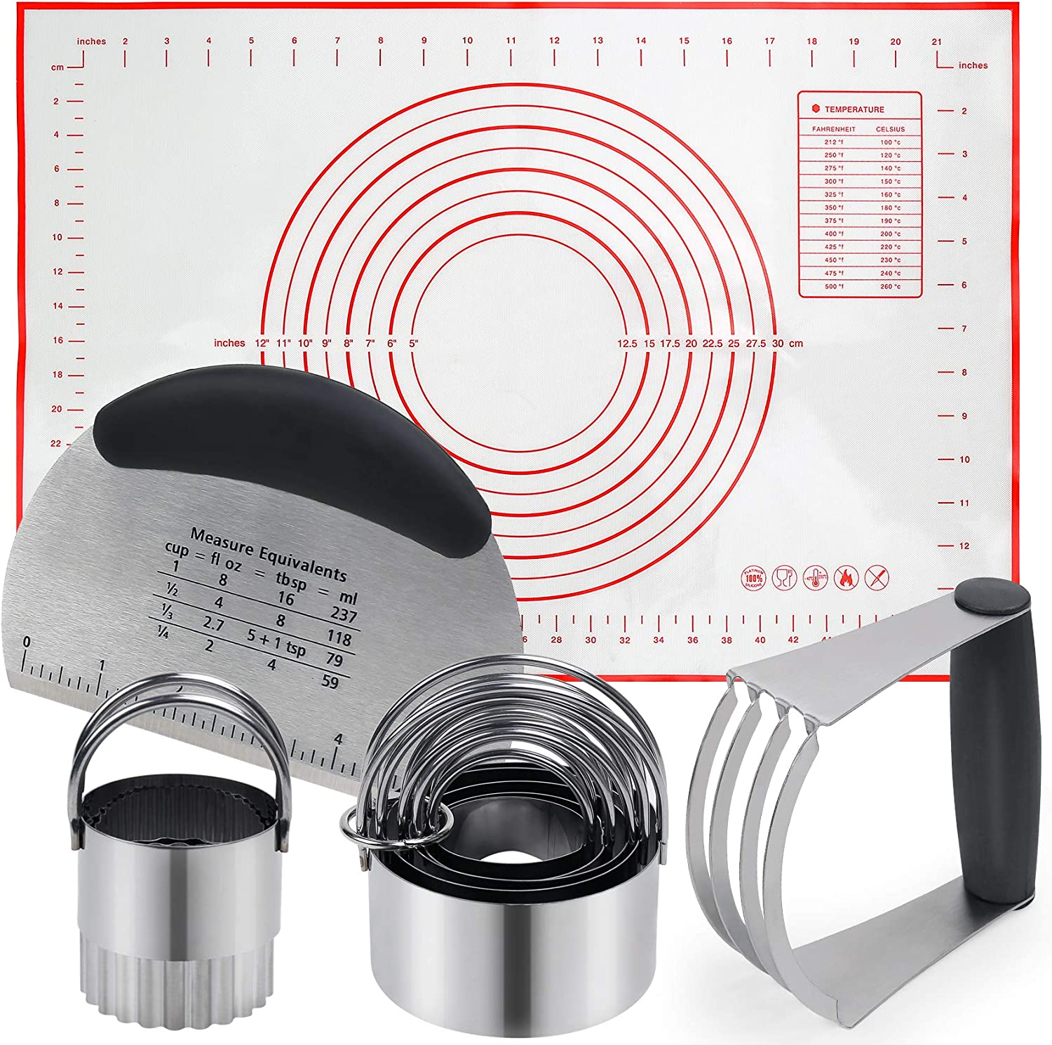 EsOfficce Pastry Cutter, Dough Scraper, Biscuit Cutter, Silicone Baking Mats, Stainless Steel Pastry Blender Set, Heavy Duty Dough Cutter-Dough Blender,Professional Baking Dough Tools with Pastry Mat