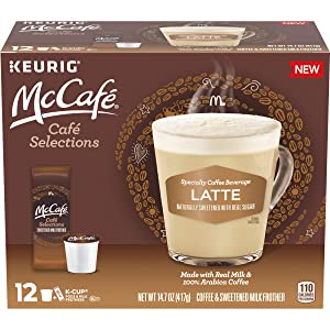 McCafe Cafe Selections Latte Coffee Keurig K Cup Pods & Froth Packets, 12 ct Box