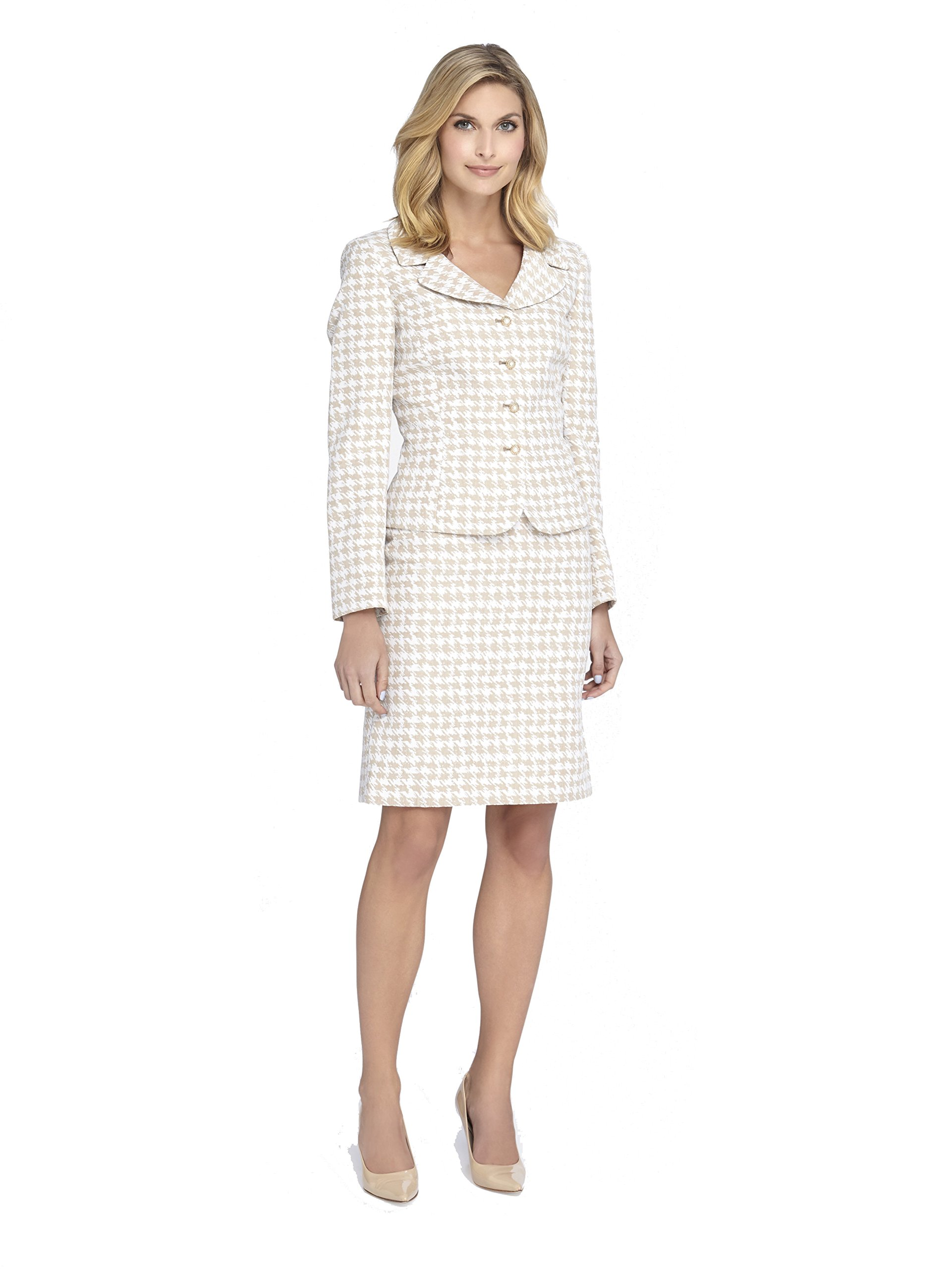 Tahari by ASL Levine Womens Houndstooth Skirt Suit (10, BEIGE IVORY)
