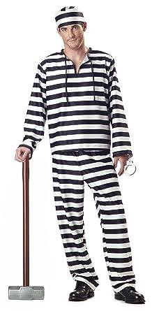 Amazon california costumes jailbird man adult costume clothing california costumes mens jailbird costume whiteblack stripe small solutioingenieria Choice Image