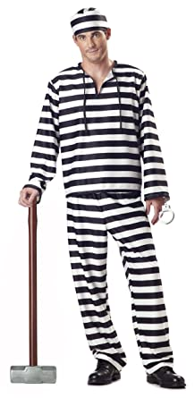 Amazon california costumes jailbird man adult costume clothing california costumes mens jailbird costume whiteblack stripe small solutioingenieria Image collections