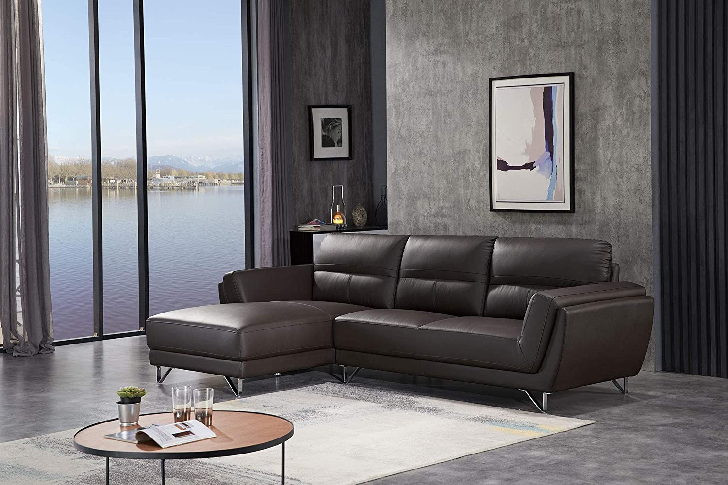 FUNRELAX Sectional Sofa Set L Shaped Comfortable Leather Corner Reclining Couches and Sofas for Living Room Modern Left Chaise Sectional Home Furniture,Coffee Color