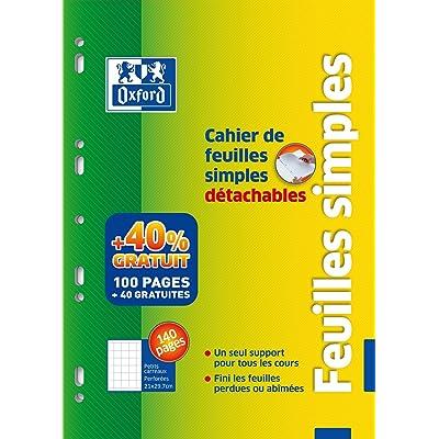 OXFORD Cahier de Feuillets Mobiles Perforés A4 détachable Quadrillé 5x5 100 pages + 40 gratuites
