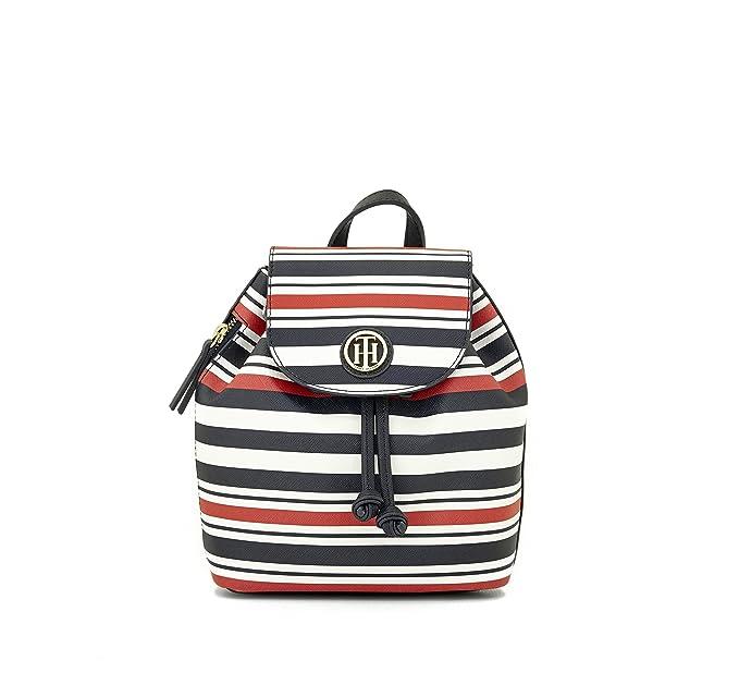 Tommy Hilfiger - Bolso mochila de Pvc para mujer azul, blanco Small: Amazon.es: Ropa y accesorios