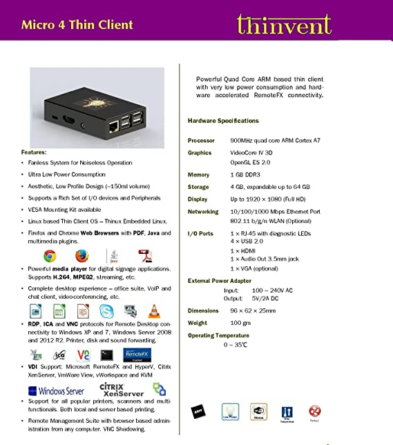 Amazon in: Buy Thinvent Pack of 3 Micro 4 Thin Client | Quad