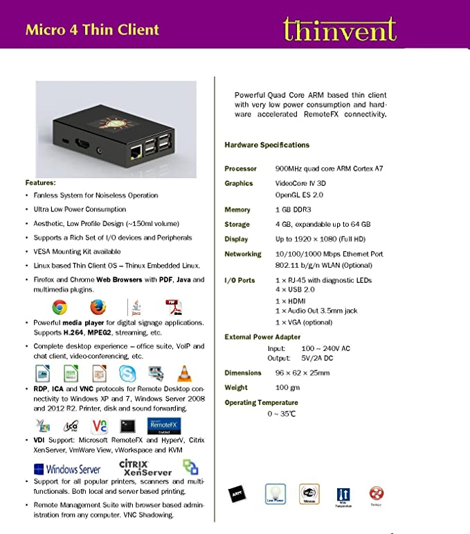 Amazon in: Buy Thinvent Pack of 3 Micro 4 Thin Client | Quad Core 1