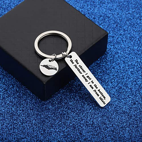 WUSUANED Scuba Diver Gift The Closer I Get to The Bottom The Farther Away I Am from Idiots Keychain Scuba Diving Jewelry Funny Diver Gift