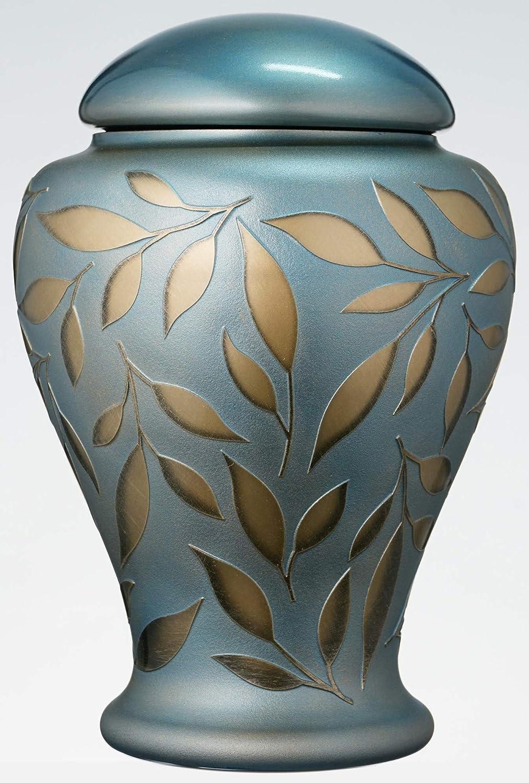 Urna Conmemorativa Azul Para Cenizas Humanas - Urna de Cremación de Vidrio Hecha a Mano - Hojas Doradas Pintadas y Arenadas - Color Azul Claro y Dorado - Vol.3L