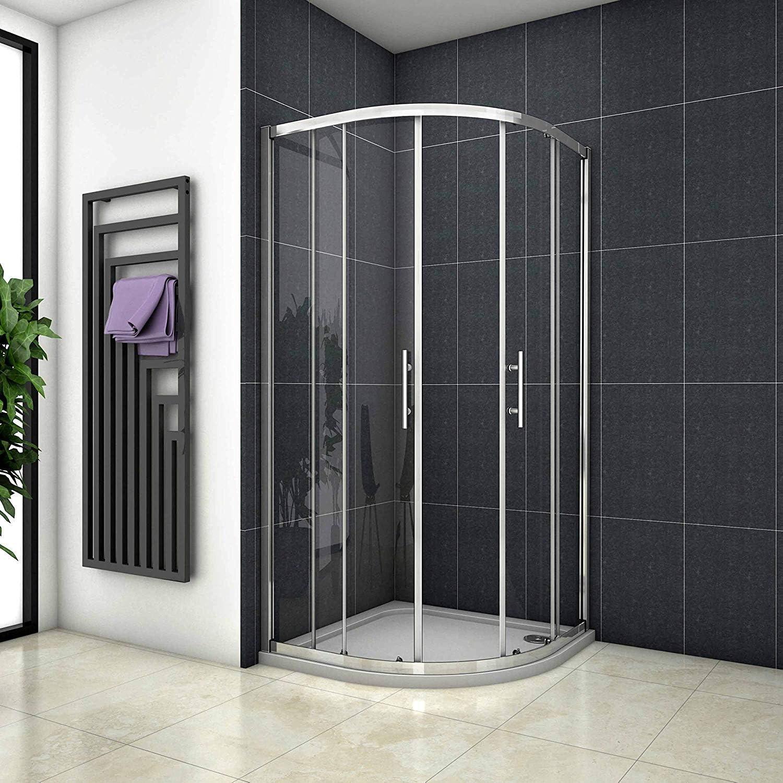 Mampara de ducha de 90 x 90 x 190 cm con forma de cuarto circular ...