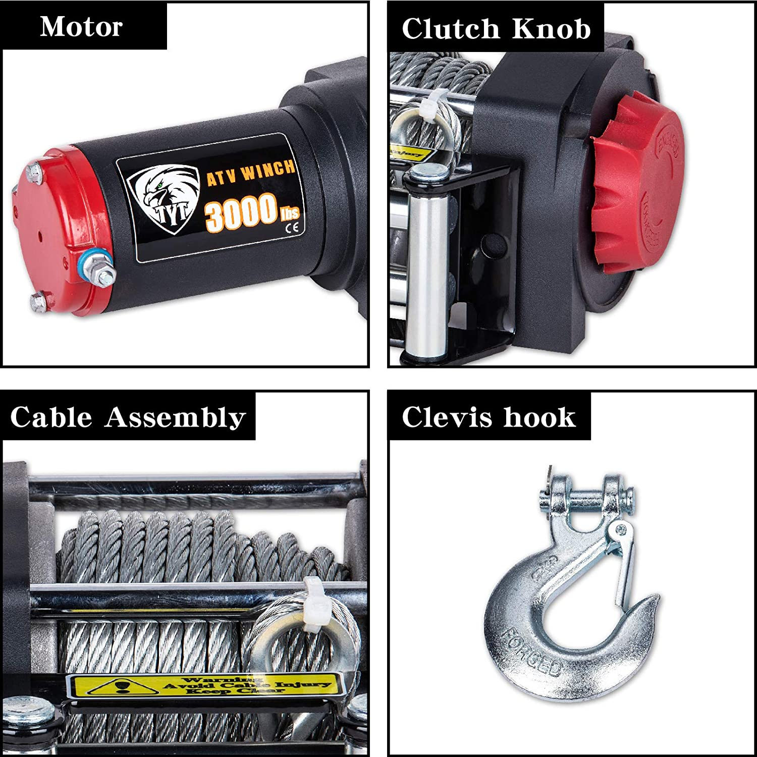3000lbs Steel Cable TYT New 3000 lb with Wireless Remote and Clevis Hook Waterproof IP67 Winch 12V Electric Winch with 49ft Steel Cable ATV//UTV Electric Winch Kit