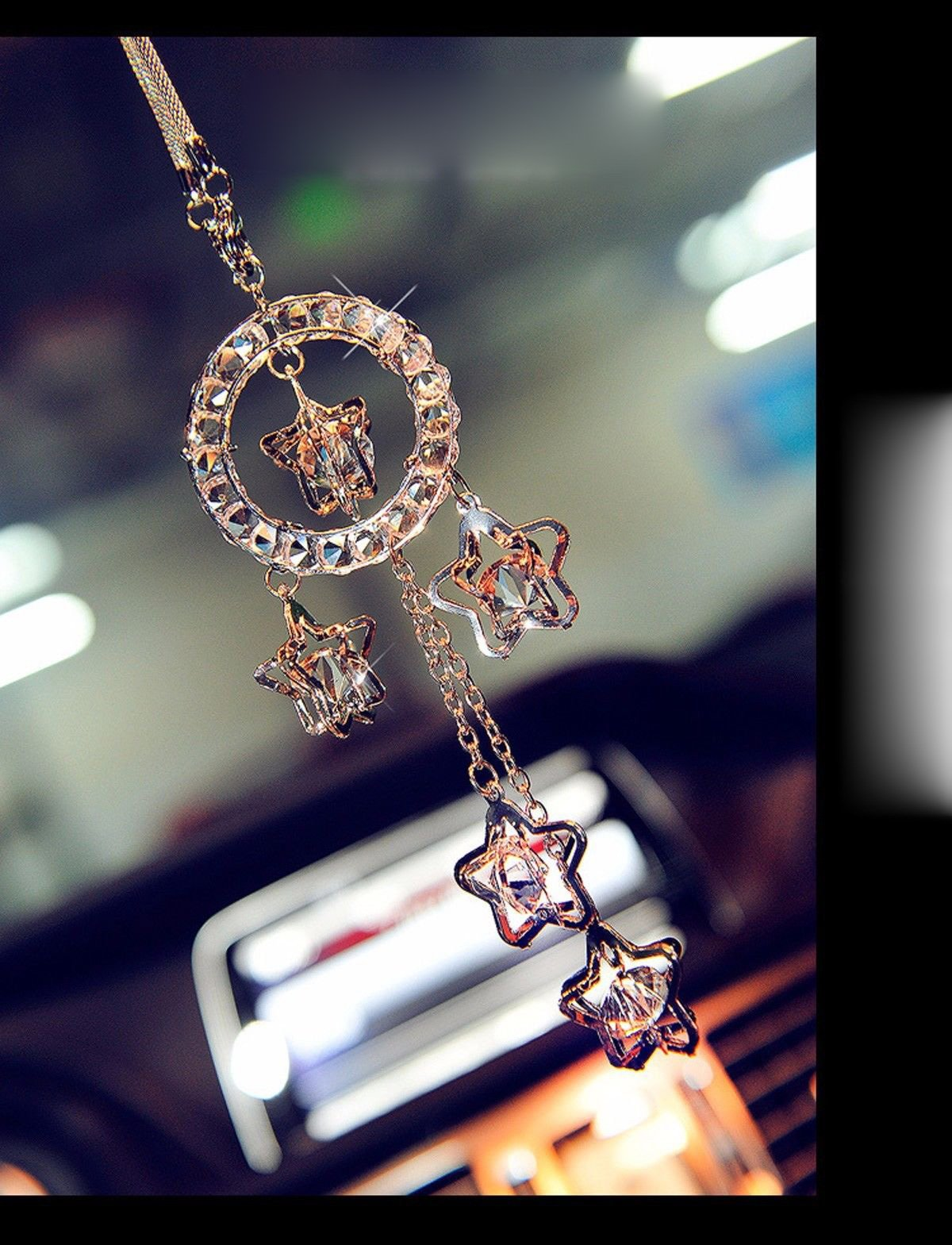 Car interior hanging - Fashion Car Rearview Mirror Hanging Ornament Car Interior Decor Crystal Charm Pendant Car Accessories Gift Present New Free Shipping From The Usa