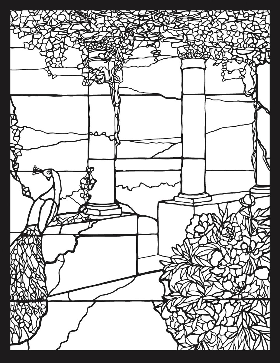 Tiffany Stained Glass Coloring Book: Pomegranate: 9780764950339 ...