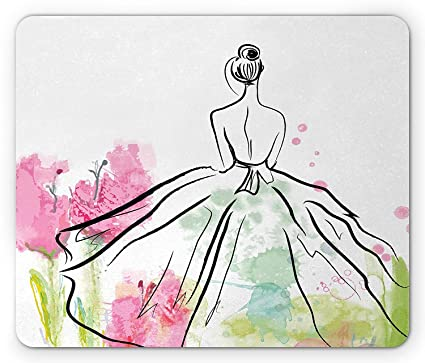 02c4b8fa45f56 Amazon.com : Fashion Mouse Pad, Sketch Woman Silhouette Wearing a ...