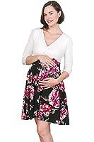 Hello MIZ Elbow Sleeve V-Neck Color Block Flower Printed Maternity Nursing Skater Dress