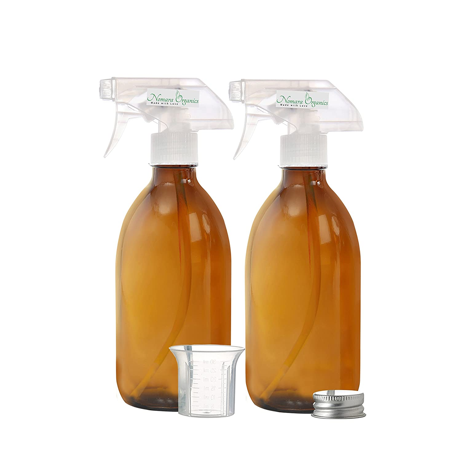 2 x 300ML BPA-FREE AMBER GLASS SPRAY BOTTLES by Nomara Organics(™). Pack of 2 x Amber Glass Bottle fitted with Leak Proof, Non-Drip, BPA-FREE, Trigger Sprayers/Atomizers + 1 x BPA-Free Graduated Beaker + 1 x Leak Proof Silver caps, Multi-purpose, Refillab