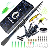 QudraKast Fishing Rod and Reel Combos, Unique Design with X-Warping Painting, Carbon Fiber Telescopic Fishing Rod with…