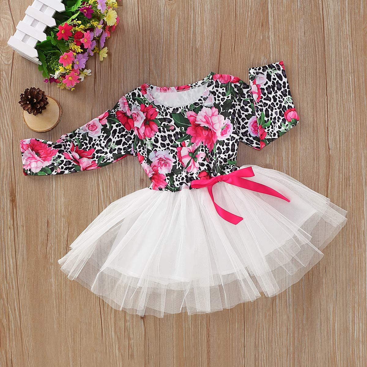 Toddler Baby Girls Long Sleeve Dress Floral Print Tulle Skirts Dress Autumn Outfits