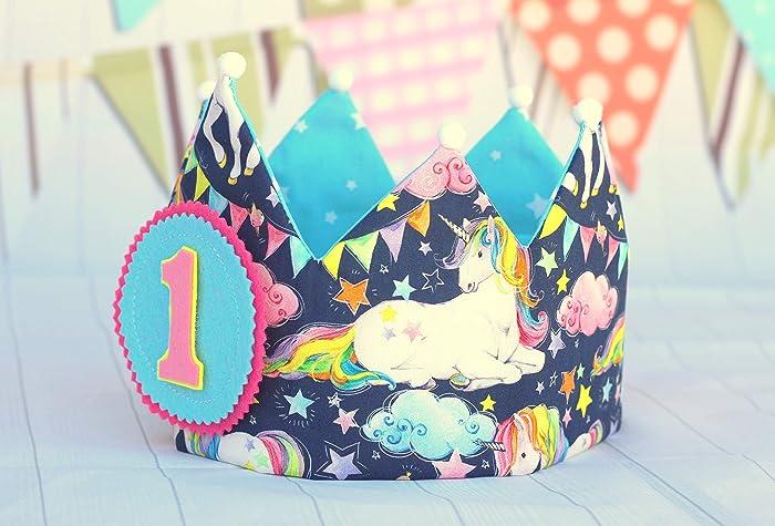 939f95c83 Corona de cumpleaños niña unicornio, corona de tela reversible para fiestas  infantiles, adorno de