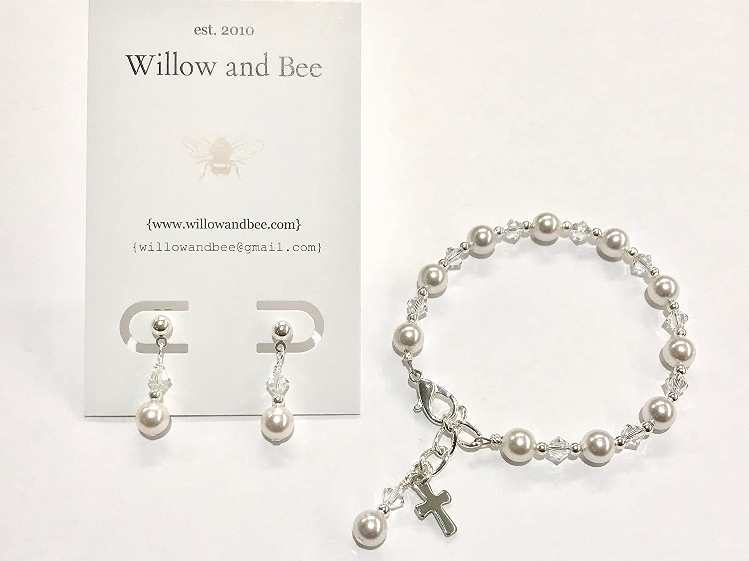 First Communion Bracelet and Earrings Set