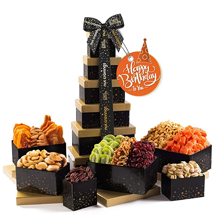 Happy Birthday Nut & Dried Fruit Tower Gift Basket, (12 Mix) - Valentine Food Arrangement Platter, Care Package Variety, Prime Birthday Assortment, Healthy Kosher Snack Box for Women, Men, Adults