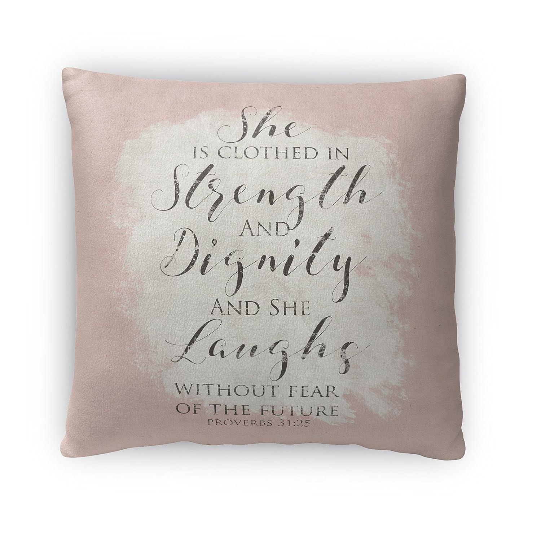 Kavka Designs強度Dignity Laughsフリーススロー枕、(ピンク/アイボリー/ブラック) – 、サイズ16 x 16 x 4 – ( telavc124fbs16 ) B01NABCIFM