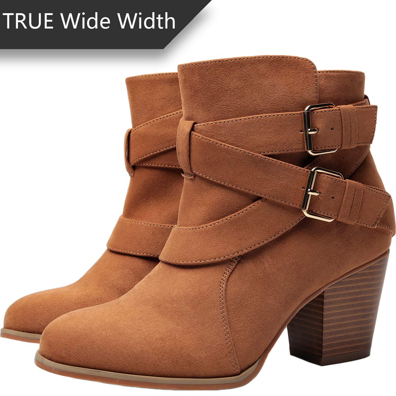 5402a4fef89 Women's Wide Width Ankle Booties - Three Cross Strap Buckle Mid Block Heel  Side Zipper Boots.