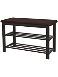 Simple Houseware Entryway Shoes Storage Bench 2 Tier Organizer Rack, Faux  Leather